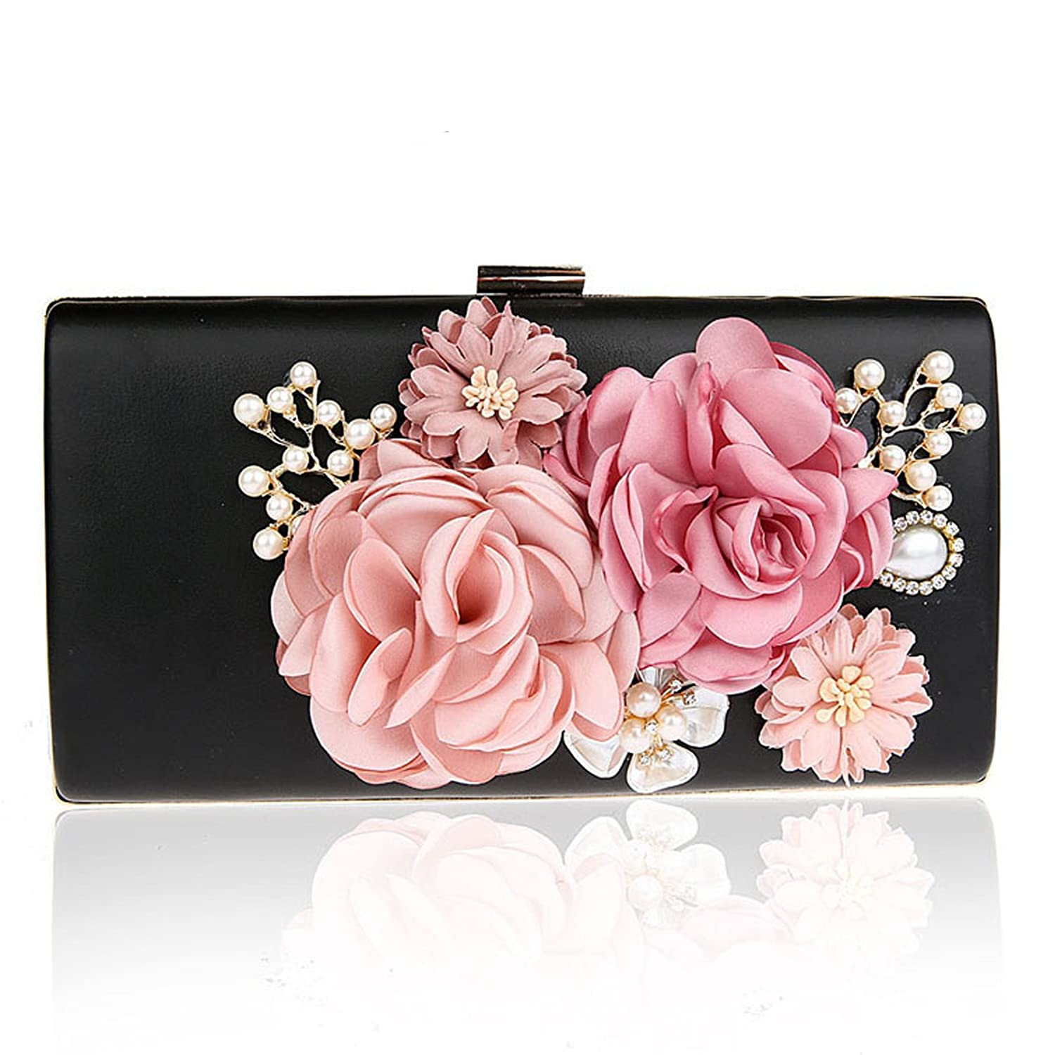 8bf2c47dccdb Womens Floral Evening Bags and Clutches Beaded Pearls Prom Party Handbags  Purse Black  Handbags  Amazon.com