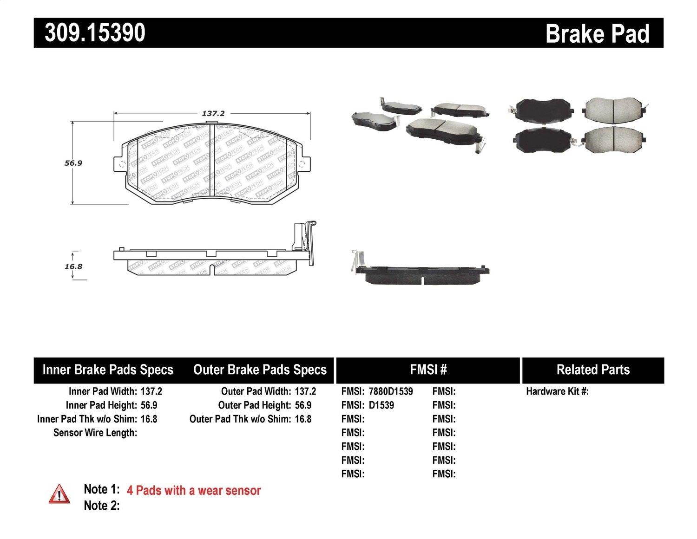 StopTech 309.15390 Brake Pad