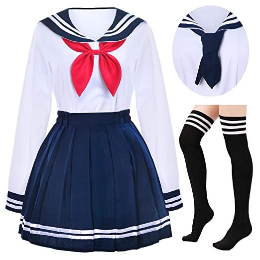 Amazoncom Japanese School Girls Uniform Sailor Navy Blue Pleated
