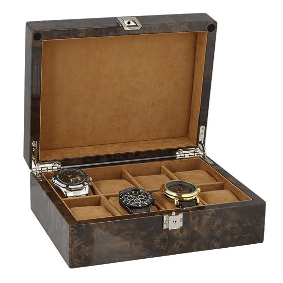 Reloj Coleccionista Caja para 8 Relojes Pulsera en oscura Burl Madera con Macizo Tapa by Aevitas