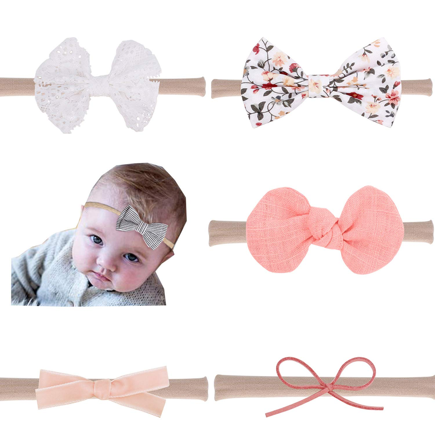 Kids Girl Baby Infant Turban Solid Headband Hair Band Bow  Accessories Headwear