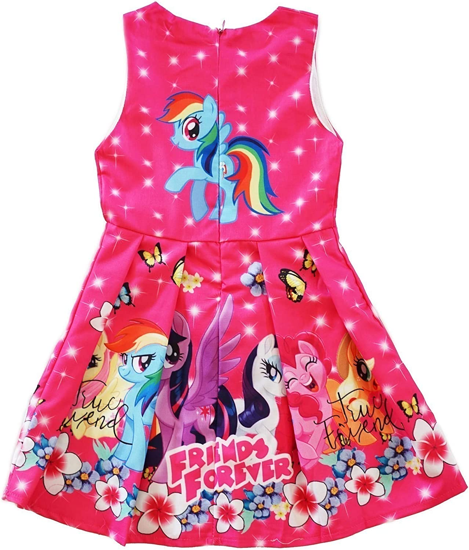 New Girls My Little Pony Dress Kids Sleeveless Party Birthday Costume Dress Gift