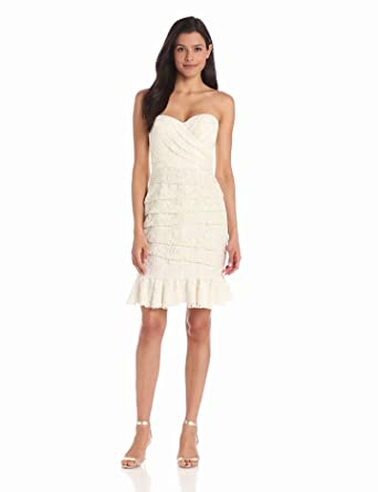 Jill Jill Stuart Women's Strapless Lace Dress, Ivory, 0