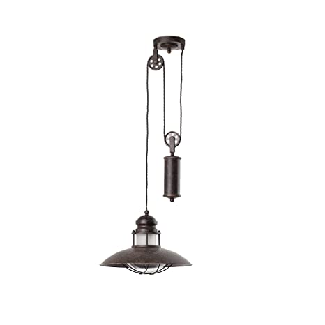 Faro Barcelona 66205 - WINCH Colgante, 60W, metal y difusor de cristal, color marron
