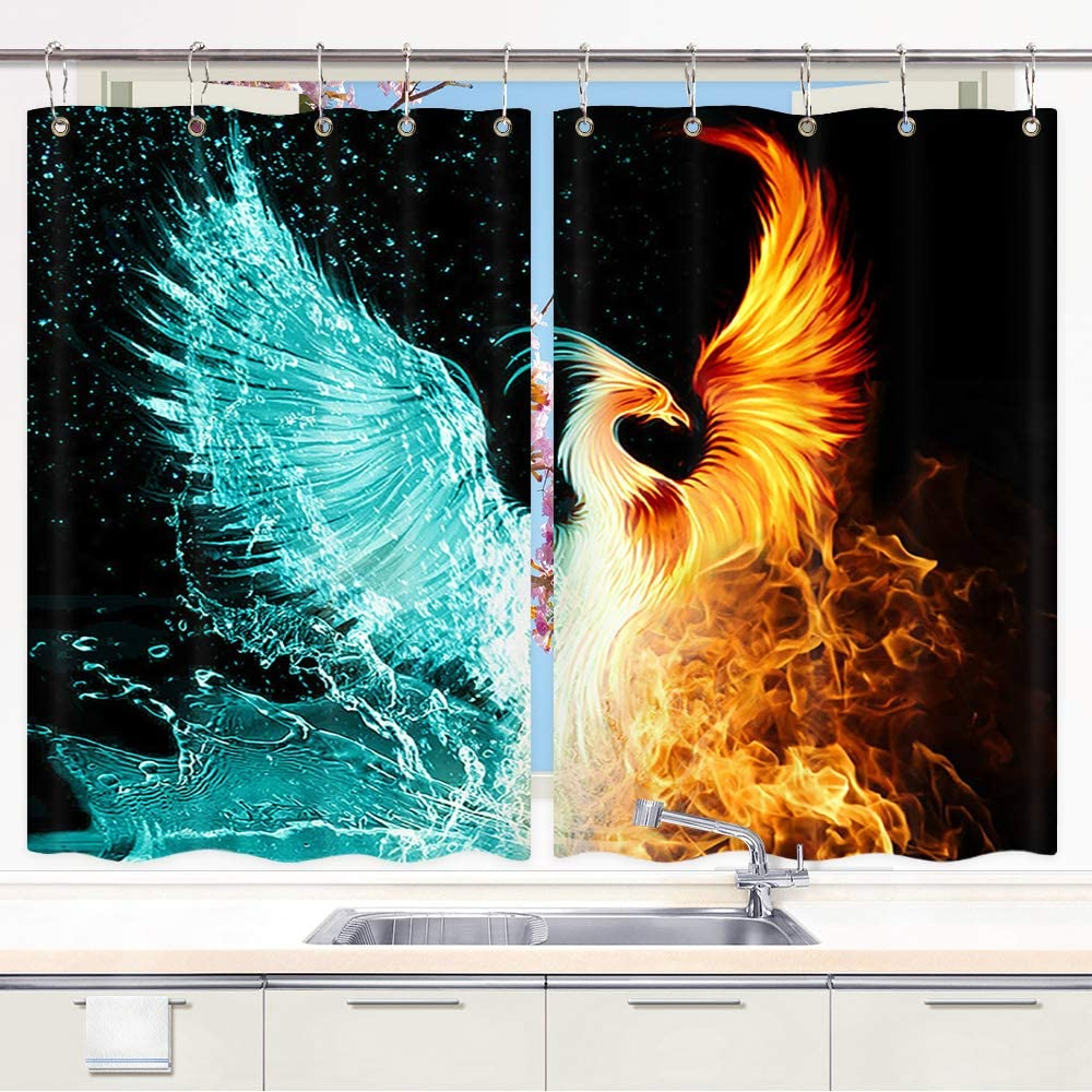 Amazon Com Jawo Phoenix Kitchen Curtains Ice Fire Fantasy Abstract King Bird Phoenix Premium Kitchen Decorations Window Drapes Window Treatment Sets Curtains 2 Panels With Hooks 55x39inches Home Kitchen
