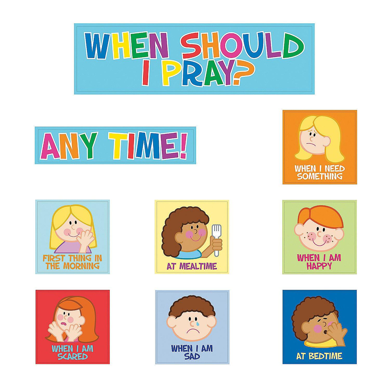 Fun Express - Bulletin Board Cutouts - Kids Pray - Educational - Classroom Decorations - Bulletin Board Decor - 9 Pieces by Fun Express