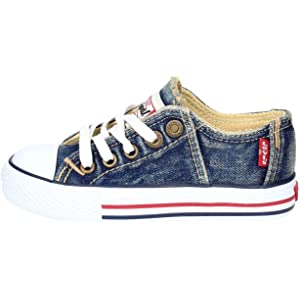 f43beeb30b1b3 Levi s Scarpe Kids Sneakers Original RED TAB Low LACE in Tela blu  VTRU0005T-BL