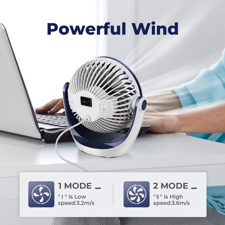 Dark Blue USB Fan OCOOPA USB Desk Fan Table Fan with Strong Airflow /& Ultra Quiet Portable Cooling Fan Speed Adjustable 360/°Rotatable Head for Home Office Bedroom Table and Desktop