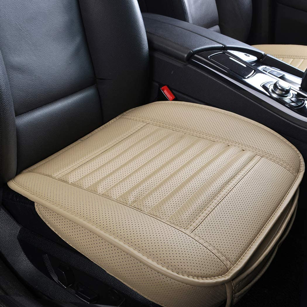 Sunny color 1pc Edge Wrapping Car Front Seat Cushion Cover Pad Mat for Auto Supplies Office Chair with PU Leather Bamboo Charcoal (Beige) …