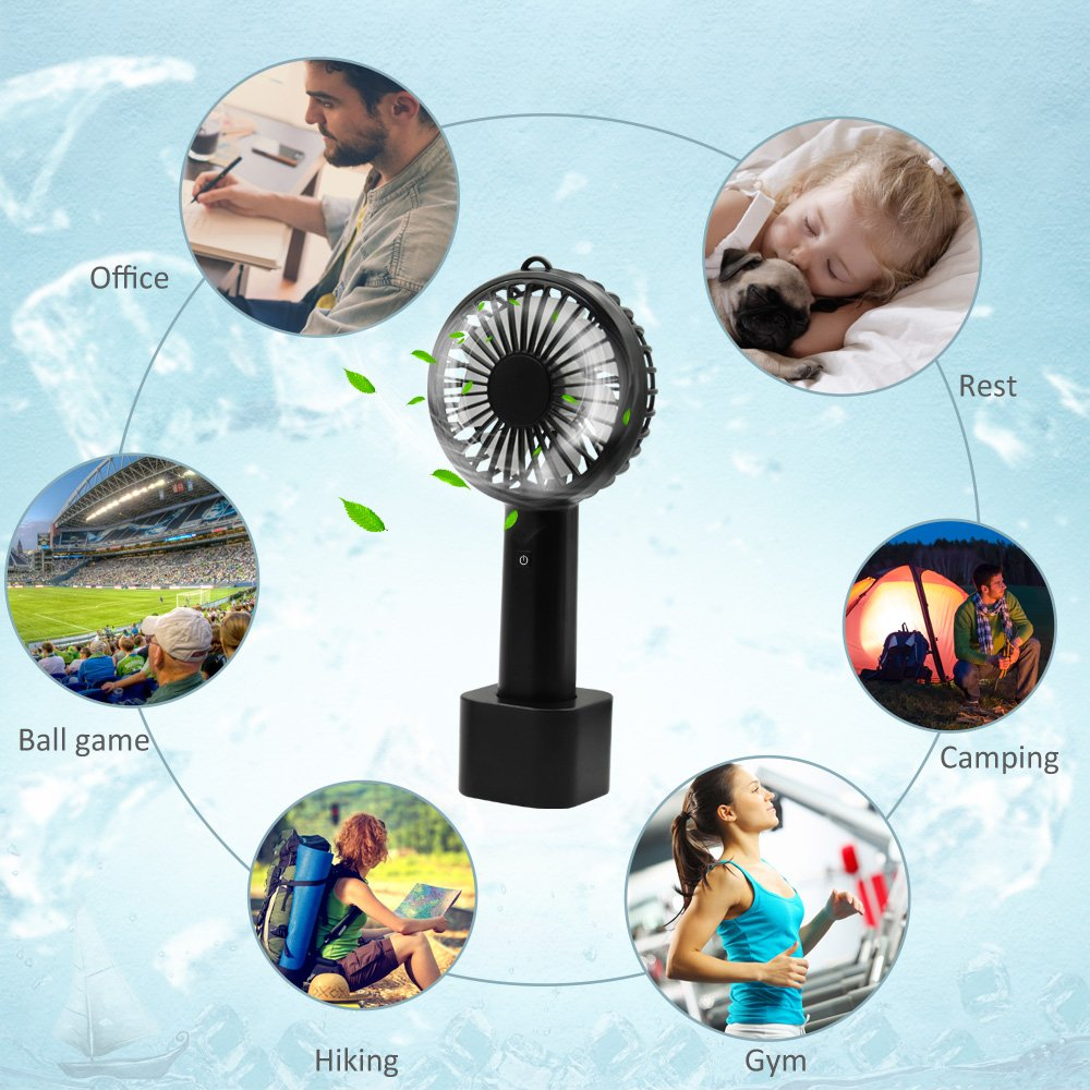 Mini Handheld Fan, LOBKIN Foldable Personal Portable Mini Desk Fans with USB Rechargeable 2600mAh Battery Operated Electric Fan for Office Room Outdoor Household Traveling BBQ,Picnic (Black)