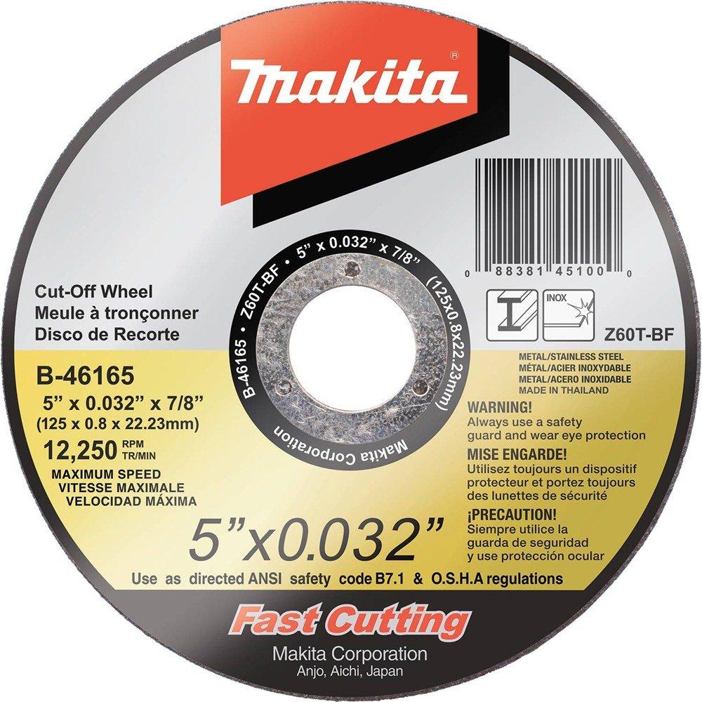 Stainless Makita B-46165-25 5-Inchx.032-Inchx7//8-Inch Ultra Thin Cut-Off Wheel 25-Pack