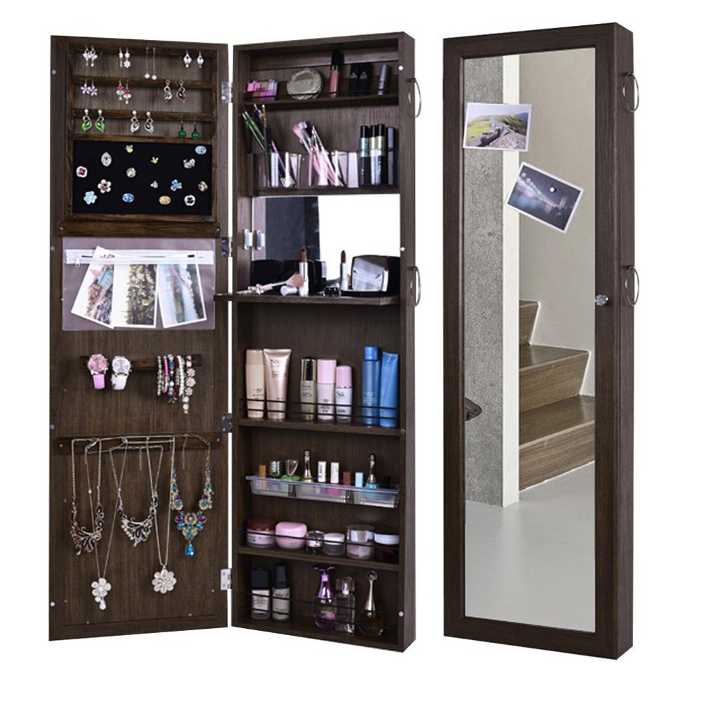 (US STOCK)Wooden Lockable Lockable Jewelry Cabinet Wall Door Mounted Armoire Organizer Storage,Jewelry Cabinet Makeup Armoire with Mirror (Black)