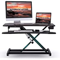 """ABOX Electric Powered Standing Desk Converter, 34"""" Wide Adjustable Height Dual Monitors Desk Riser, 2.0A 10W USB Charger…"""