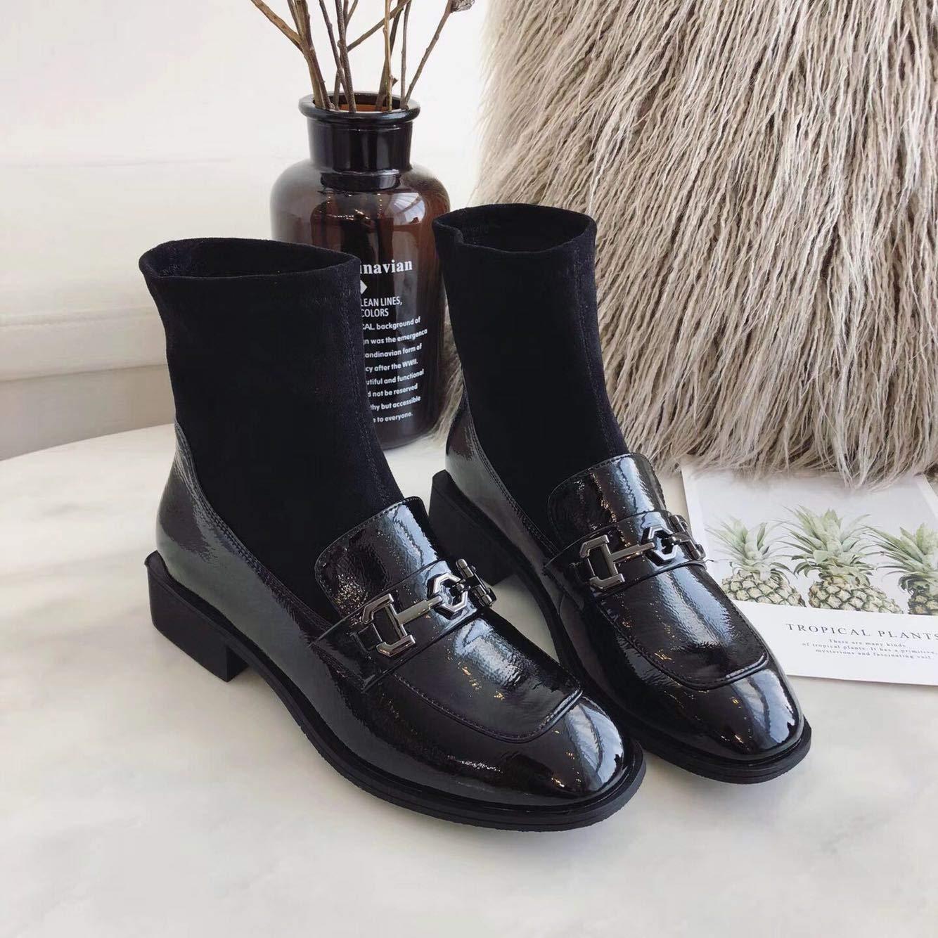 Shukun Stiefeletten Herbst und Winter Frauen Stiefelies Platz mit Metallschnalle Retro elastische Schuhe Mode Wild Martin Stiefel