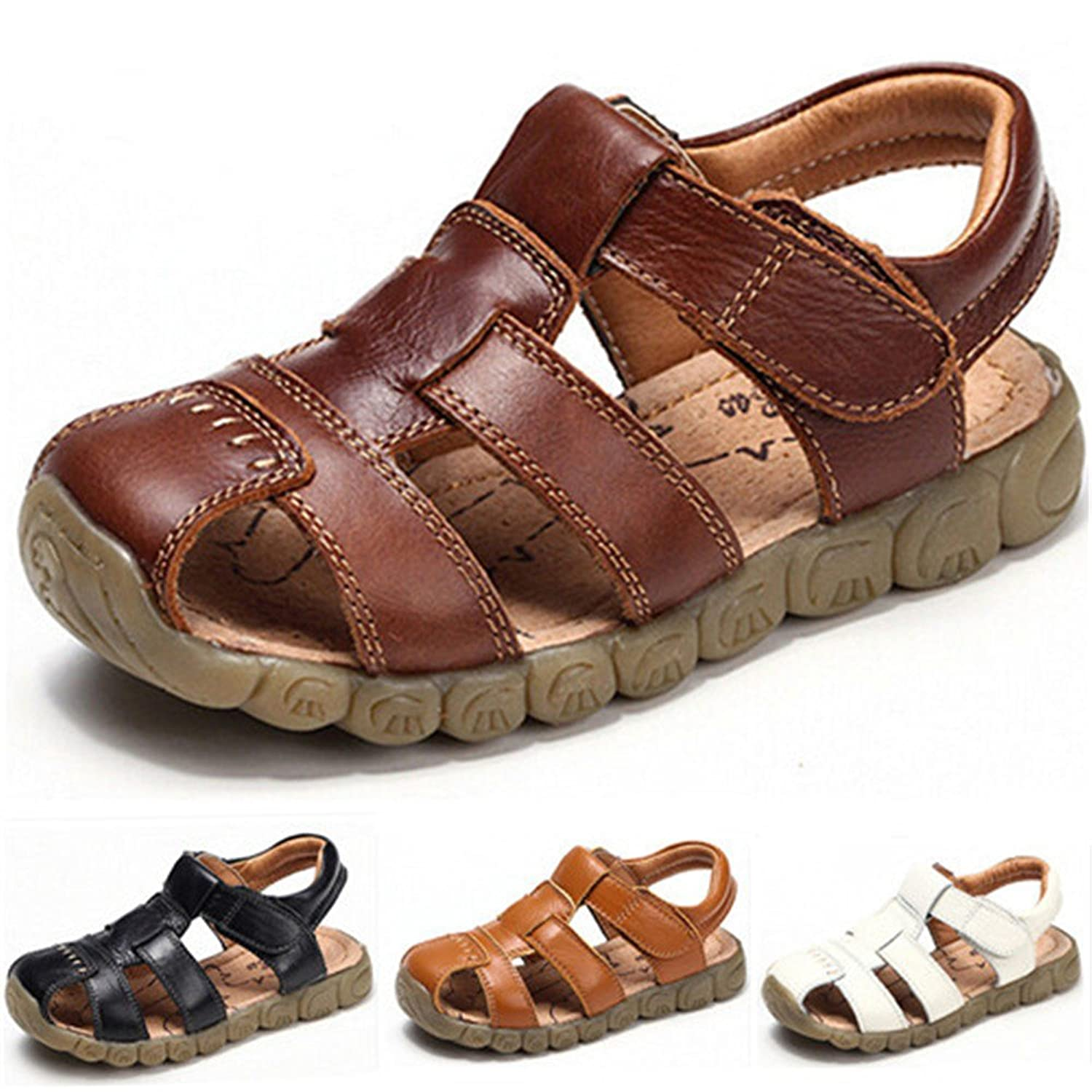 6c5019487c76e DZRZVD Baby Boy Girl Fisherman Leather Closed-Toe Sandal Beach Flat Shoes ( Toddler