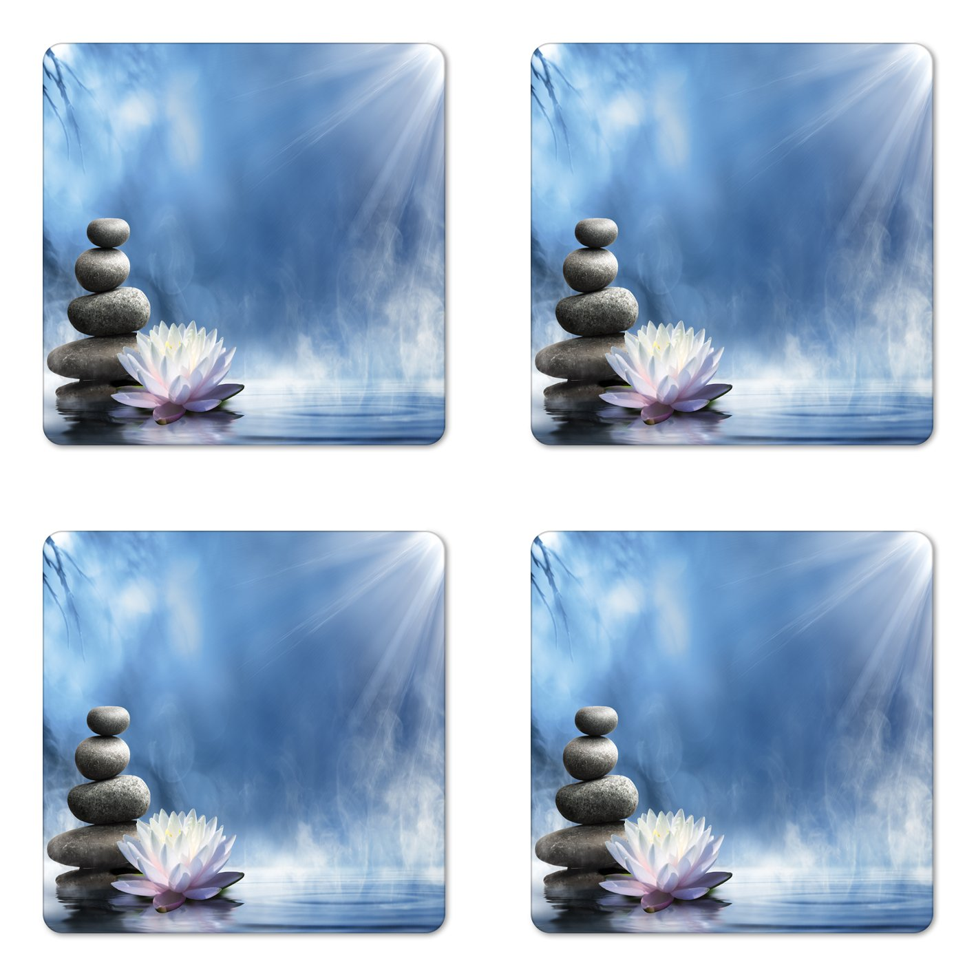 Lunarable Spa Coaster Set of Four, Purity of The Zen Massage Magic Lily Stones Sunbeams Spirituality and Serenity Theme, Square Hardboard Gloss Coasters for Drinks, Blue White