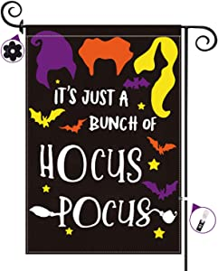 Halloween Hocus Pocus Garden Flag Double Sided IT'S JUST A BUNCH OF HOCUS POCUS Yard Flags 12 x 18 Inch Outdoor Decorations Burlap Yard Banner Halloween Lawn Decor