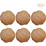 QCUTEP Round Placemats, Table Mats Set of 6 Washable Wood Grain Shape Coasters Heat Resistant Non-Slip Placemats for…