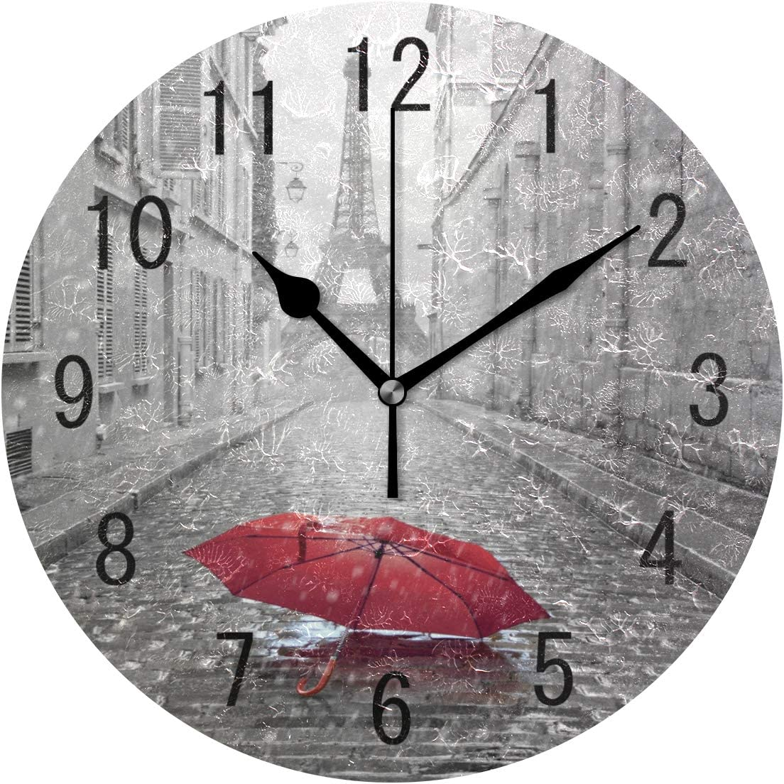 ALAZA Home Decor Eiffel Tower Street of Paris with Red Umbrella 9 inch Round Acrylic Wall Clock Non Ticking Silent Clock Art for Living Room Kitchen Bedroom