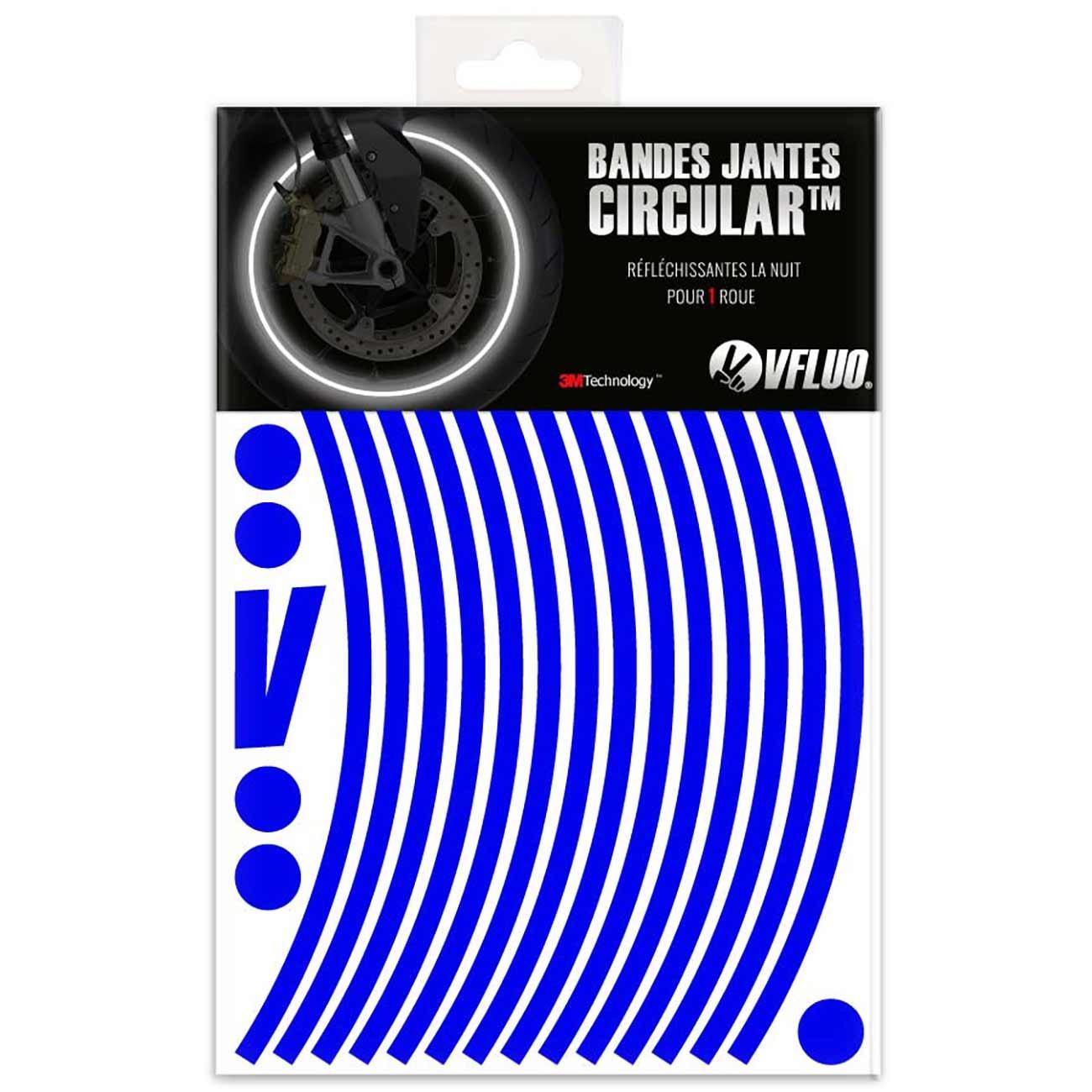 VFLUO Circular™ , Kit Bandes Jantes Moto ré tro ré flé chissantes (1 Roue), 3M Technology™ , Liseret Largeur XL : 10 mm, Or Kit Bandes Jantes Moto rétro réfléchissantes (1 Roue) 3M TechnologyTM