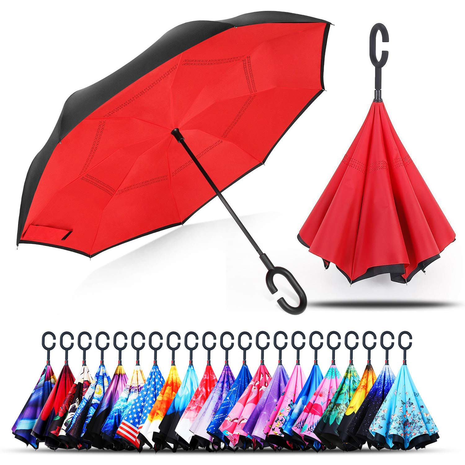 Owen Kyne Windproof Double Layer Folding Inverted Umbrella, Self Stand Upside-Down Rain Protection Car Reverse Umbrellas with C-Shaped Handle (Red) by Owen Kyne