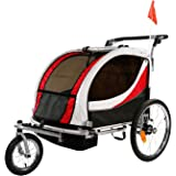 Clevr Deluxe 3-in-1 Double 2 Seat Bicycle Bike Trailer Jogger Stroller for Kids Children | Foldable Collapsible w/Pivot…
