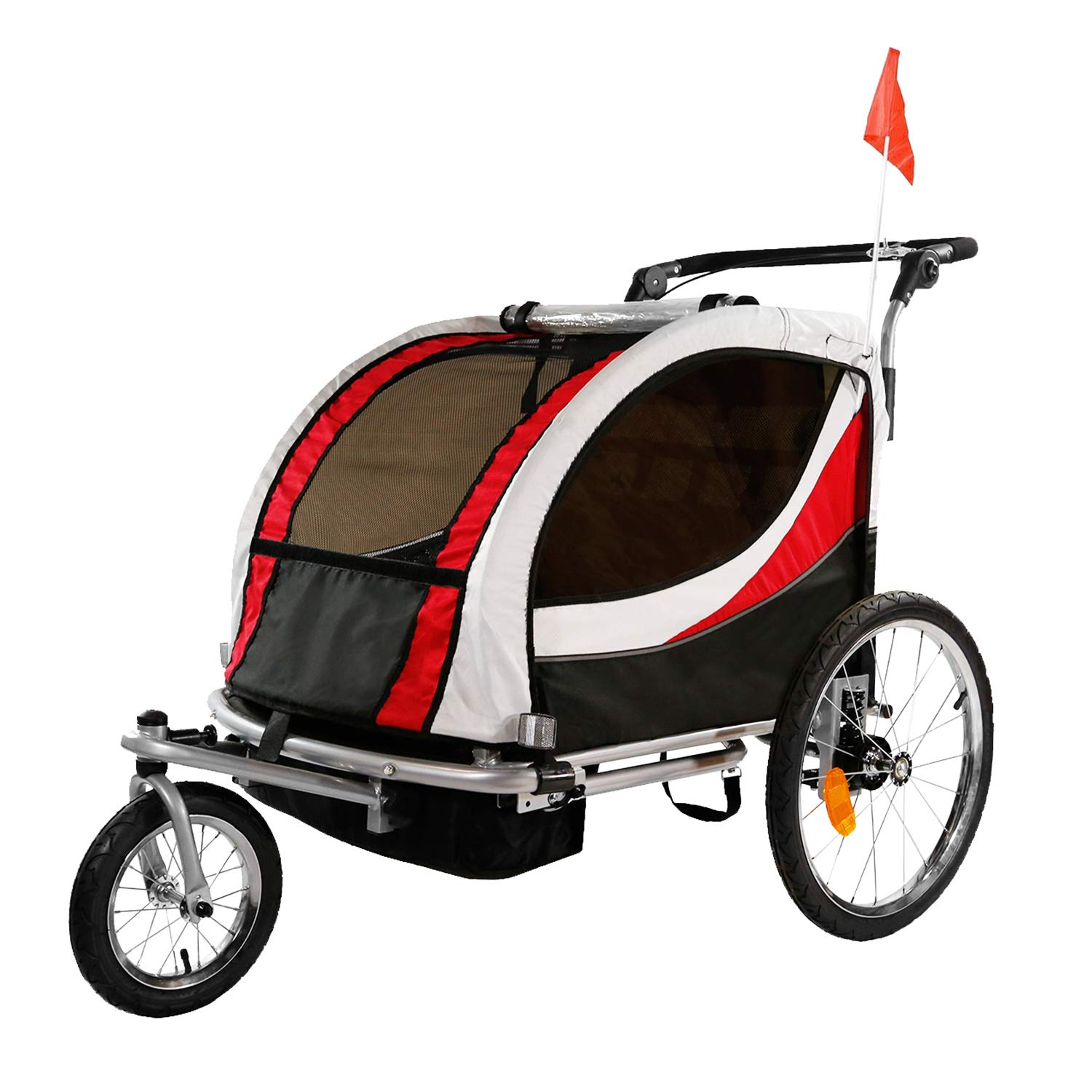 Clevr 3-in-1 Double 2 Seat Bicycle Bike Trailer Jogger Stroller for Kids Children | Foldable Collapsible w/Pivot Front Wheel, Red by Clevr