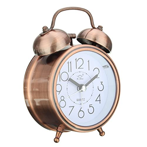 KING DO WAY Classic Retro Silent Non Ticking Quartz DoubleTwin Bell Alarm Clock Movement Bedside WIth Night Light And Loud Alarm,Battery Operated Copper
