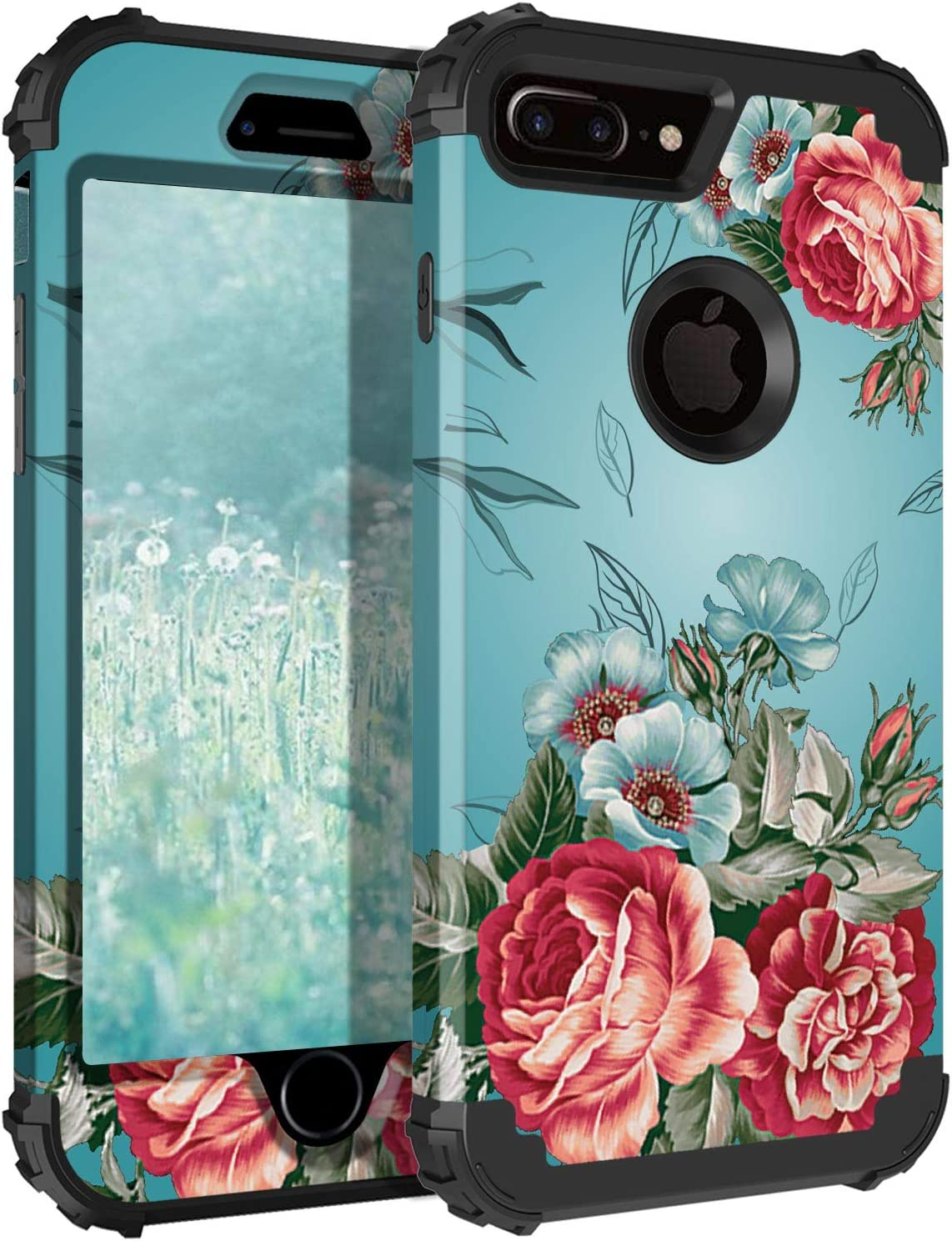 Lontect for iPhone 8 Plus Case, iPhone 7 Plus Case Floral 3 in 1 Heavy Duty Hybrid Sturdy High Impact Shockproof Protective Cover Case for Apple iPhone 8 Plus/iPhone 7 Plus, Teal/Red Flower