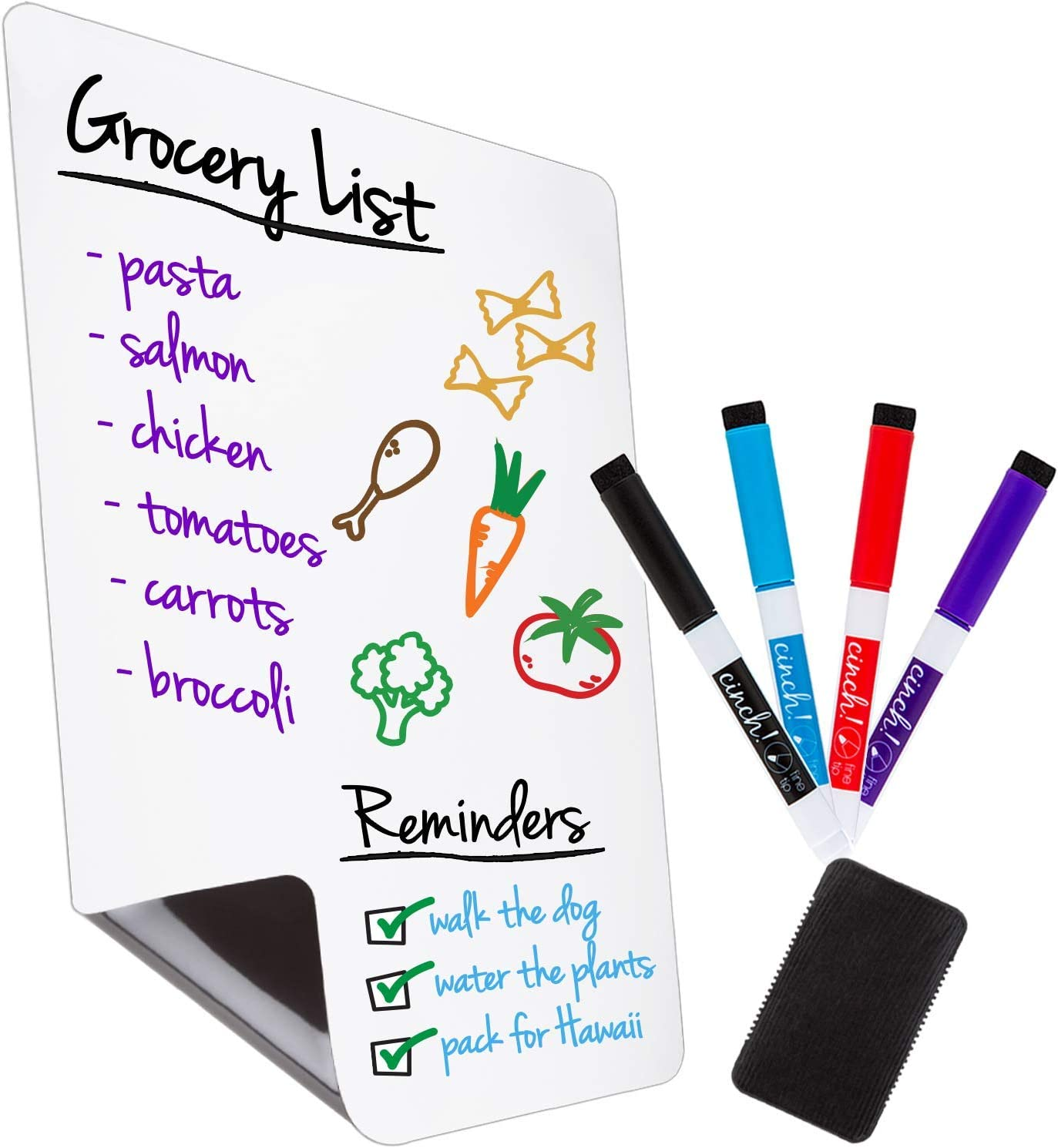 """Magnetic Dry Erase Whiteboard Sheet for Kitchen Fridge: with Stain Resistant Technology - 16x11"""" - Includes 4 Markers and Big Eraser with Magnets - Refrigerator Grocery List White Board Organizer"""
