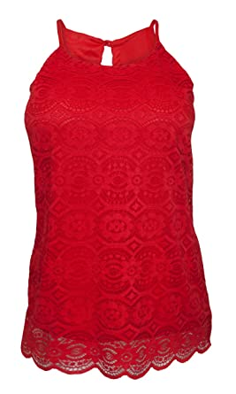 b5a98be05ba09 eVogues Plus Size Lace Overlay Sleeveless Top Coral at Amazon ...