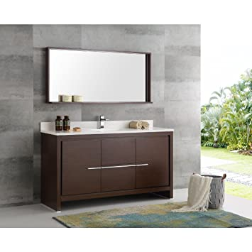 fresca allier 60 wenge brown modern single sink bathroom vanity with mirror - Modern Single Sink Bathroom Vanities