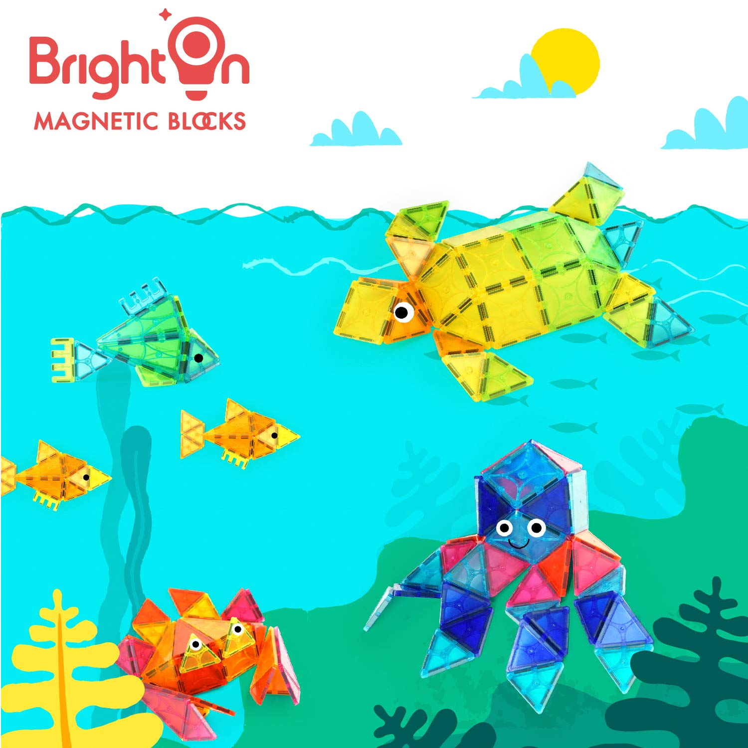 BrightOn Educational Kids Toys Magnetic Building Blocks, Creative Toys 3D Magnetic Blocks for Kids, Imagination Magnets Building Tiles for Children 105Pcs by BrightOn (Image #1)