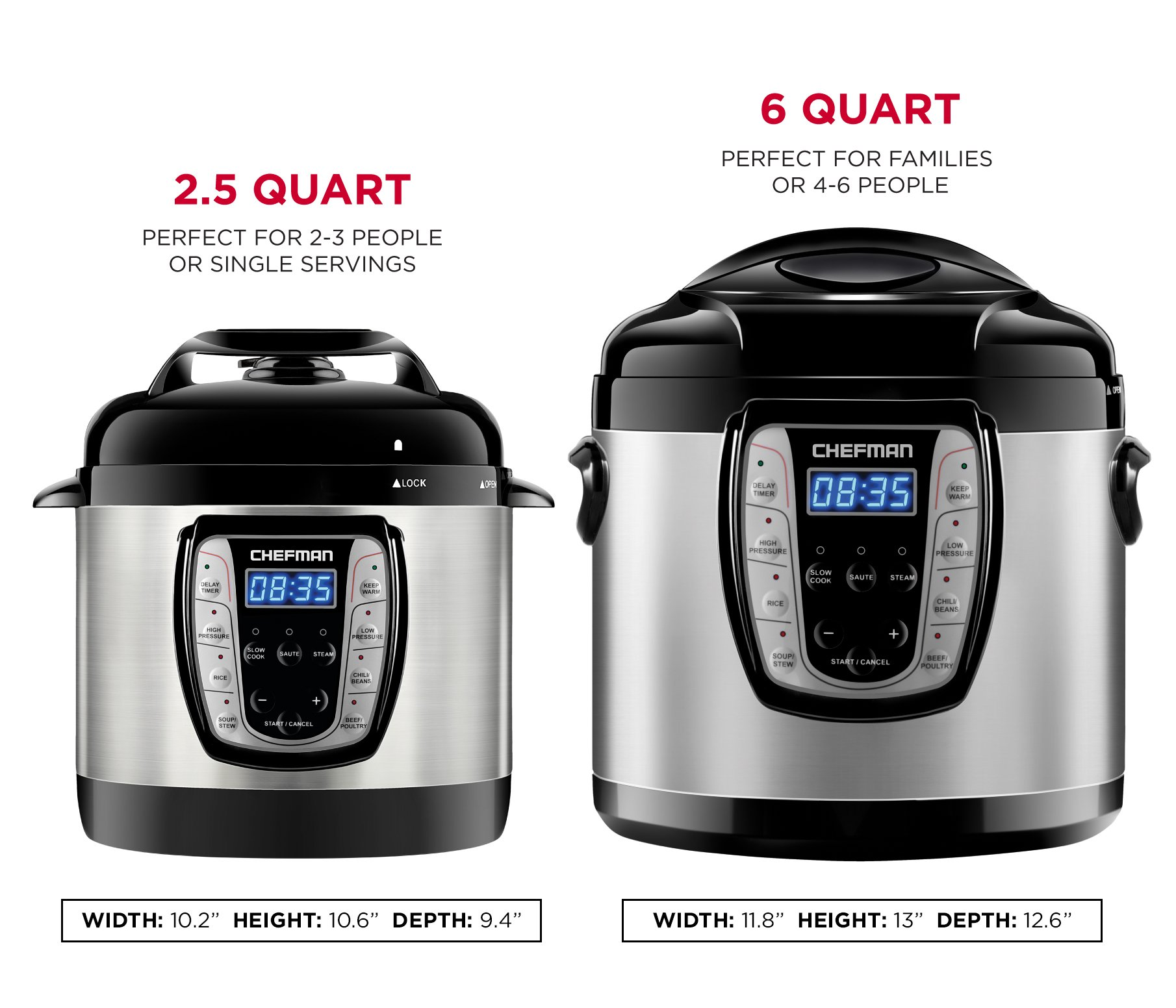 Chefman 6 Qt. Electric Multicooker, 9-in-1 Programmable Pressure Cooker, Prepare Dishes in an Instant, Aluminum Pot Multifunctional Slow Cooker, Rice Cooker/Steamer, Sauté, Yogurt, Soup Maker by Chefman (Image #9)