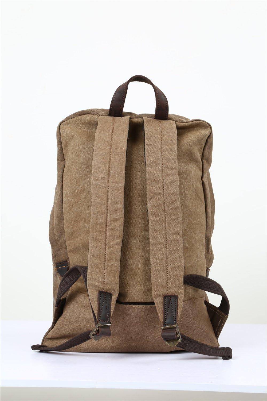Color : Brown, Size : M Lydianzishangwu Mens Shoulder Bag Oil Wax Canvas Bag Retro Crazy Horse Skin Backpack Batik Canvas Waterproof Backpack