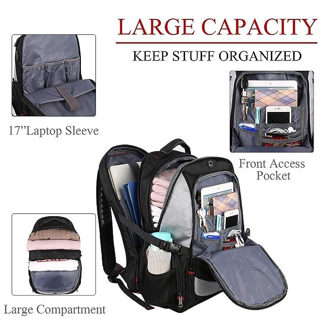 f22ef56caf 17inch Sac à dos pour ordinateur portable, grand sac à dos d'ordinateur de  voyage avec port de charge USB pour hommes femmes, grande capacité TSA ...
