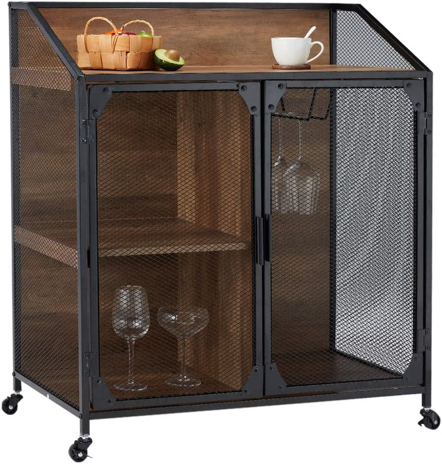 YOLENY Industrial Storage Cabinet,Storage Sideboard with Metal Mesh Door,Buffet Entryway Cabinet for Home,Kitchen, Dining Room