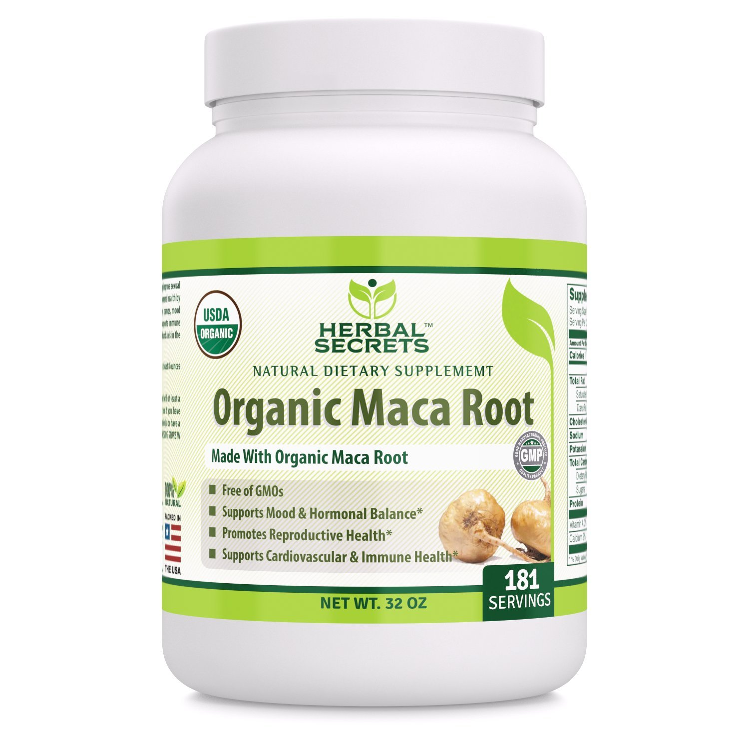 Herbal Secrets USDA Certified Organic Maca Root Powder- 32 oz- GMO Free- Supports Healthy Mood, Hormonal Balance, Cardiovascular Health Immune Health