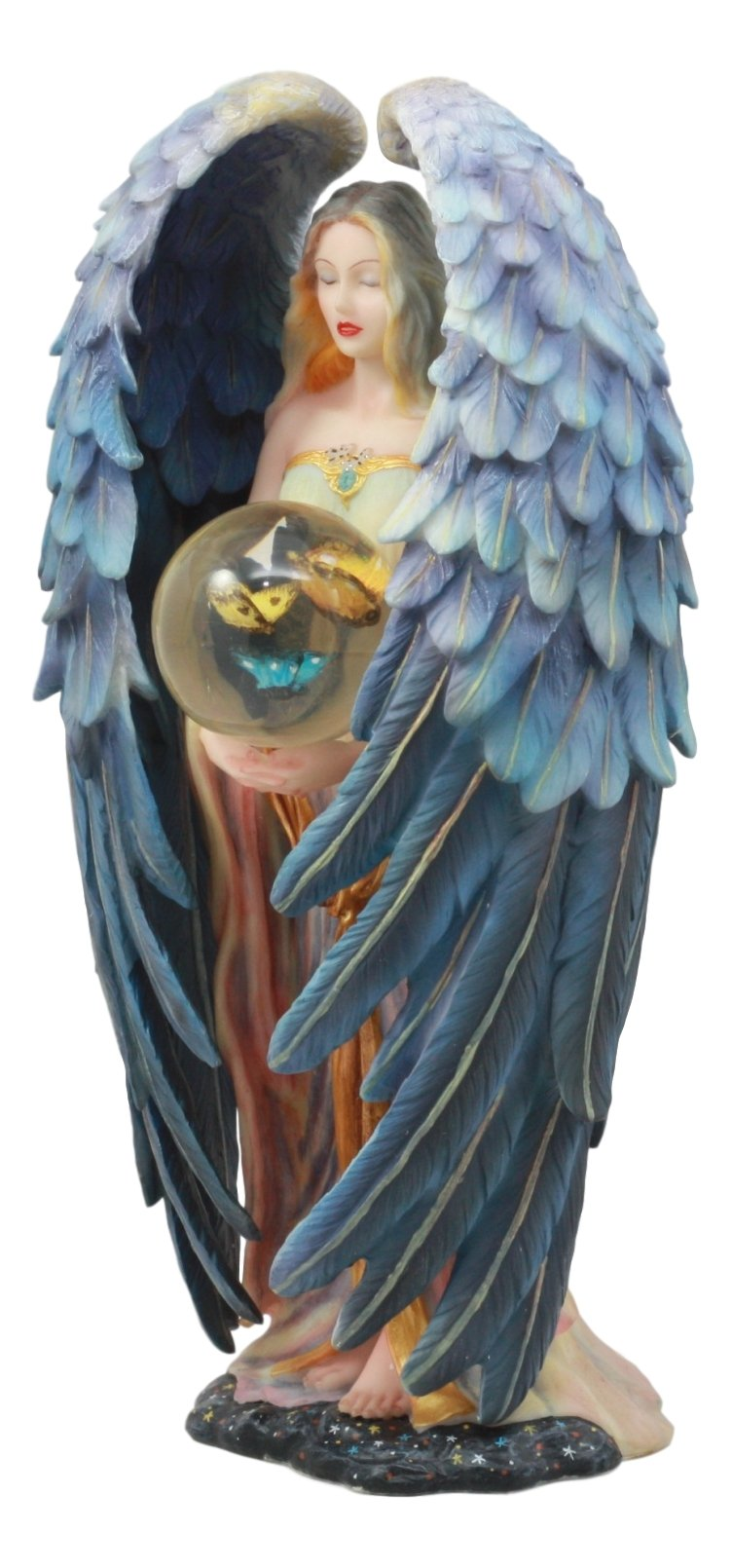 Sheila Wolk Tranquility Statue Masterpiece Beautiful Angel Holding Metamorphosis Butterfly Crystal Ball Figurine Decorative Art for Inspirational Housewarming Gift Fantasy Collector Item