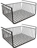 Styleys Stainless Steel Undershelf Basket (Black, 15.5-inch) - Set of 2