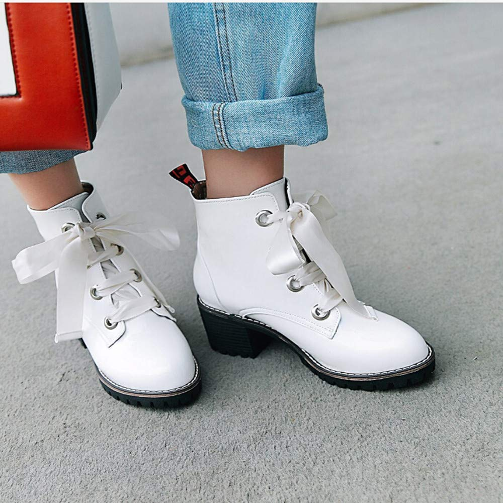 HhGold Stiefel Damen Schuhe Stiefeletten Frauen Runde Toe Toe Toe Freizeitschuhe Anti Rutsch Damenstiefel Cross Tied Square Heel Lederstiefel Stiefel Winterstiefel (Farbe   Weiß, Größe   39 EU) 1c5ff8
