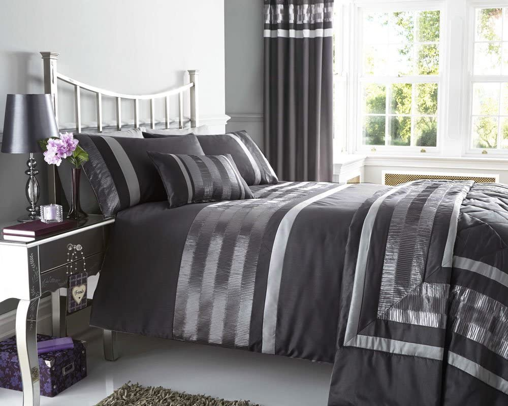 "Double Duvet Cover Set and Matching Curtains in Charcoal Grey & Silver with  Satin Pintuck Ruffle Detail (Duvet Set & Curtains 9x9"")"