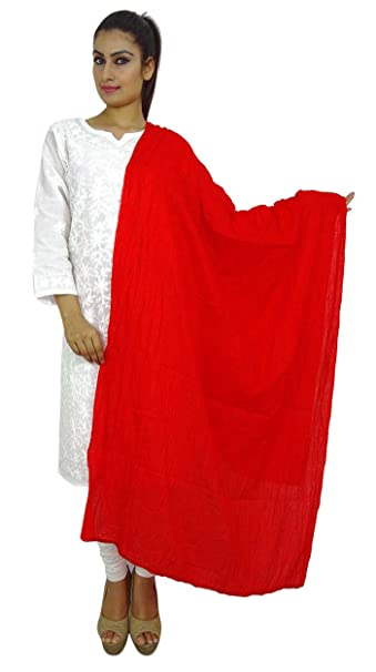 El algodón de la estola indio largo Dupatta Chunni cuello del abrigo de la bufanda de banda Wih Frontera: Amazon.es: Ropa y accesorios