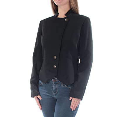 782761f71169 RACHEL Rachel Roy Womens Contrast Trim Lined Collarless Blazer Black 6