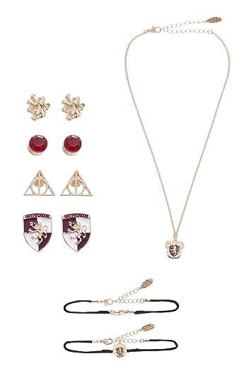 fa302a823 Harry Potter Official Jewellery Set earrings necklace bracelet set  Gryffindor Slytherin Set (Gryffindor): Amazon.co.uk: Jewellery