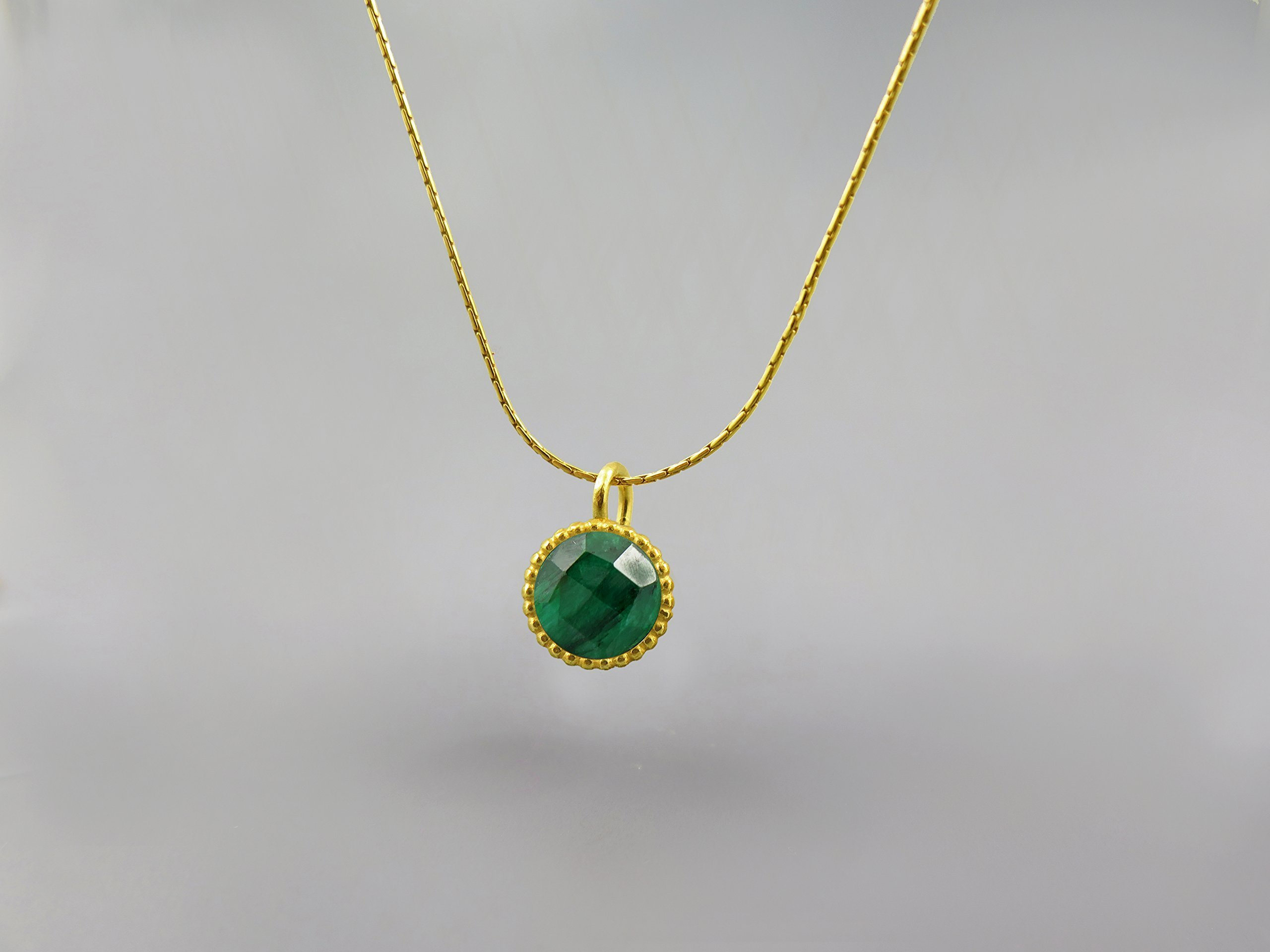 Emerald Genuine Gemstone Round Pendant Necklace For Women 18K Gold Plated May Birthstone Jewelry Emerald Necklace Emerald Pendant Jewelry Set Gift for Women Faceted Green Stone Custom Jewelry Handmade
