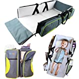 TRAVEL PORTABLE BASSINET DIAPER BAG - 3 in 1 Portable Changing Station, Travel Crib, & Diaper Bag | Bonus Bed Sheet & Stroller Attachment | Perfect Travel Bassinets for Babies & Travel Accessory