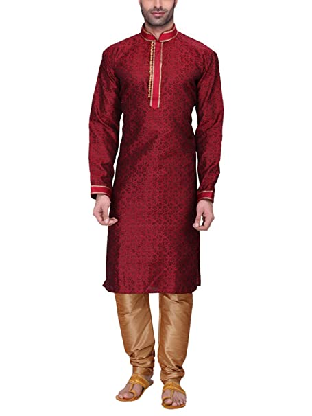 RG DESIGNERS Men's Full Sleeve Kurta Pyjama Set D6525Maroon Men's Kurta Sets at amazon