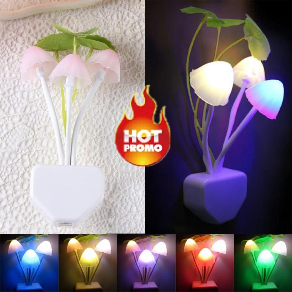 Caopixx Yellow Light Sensor LED Mushroom Night Light Wall Lamp Home Decor Night Light for Kids (D)