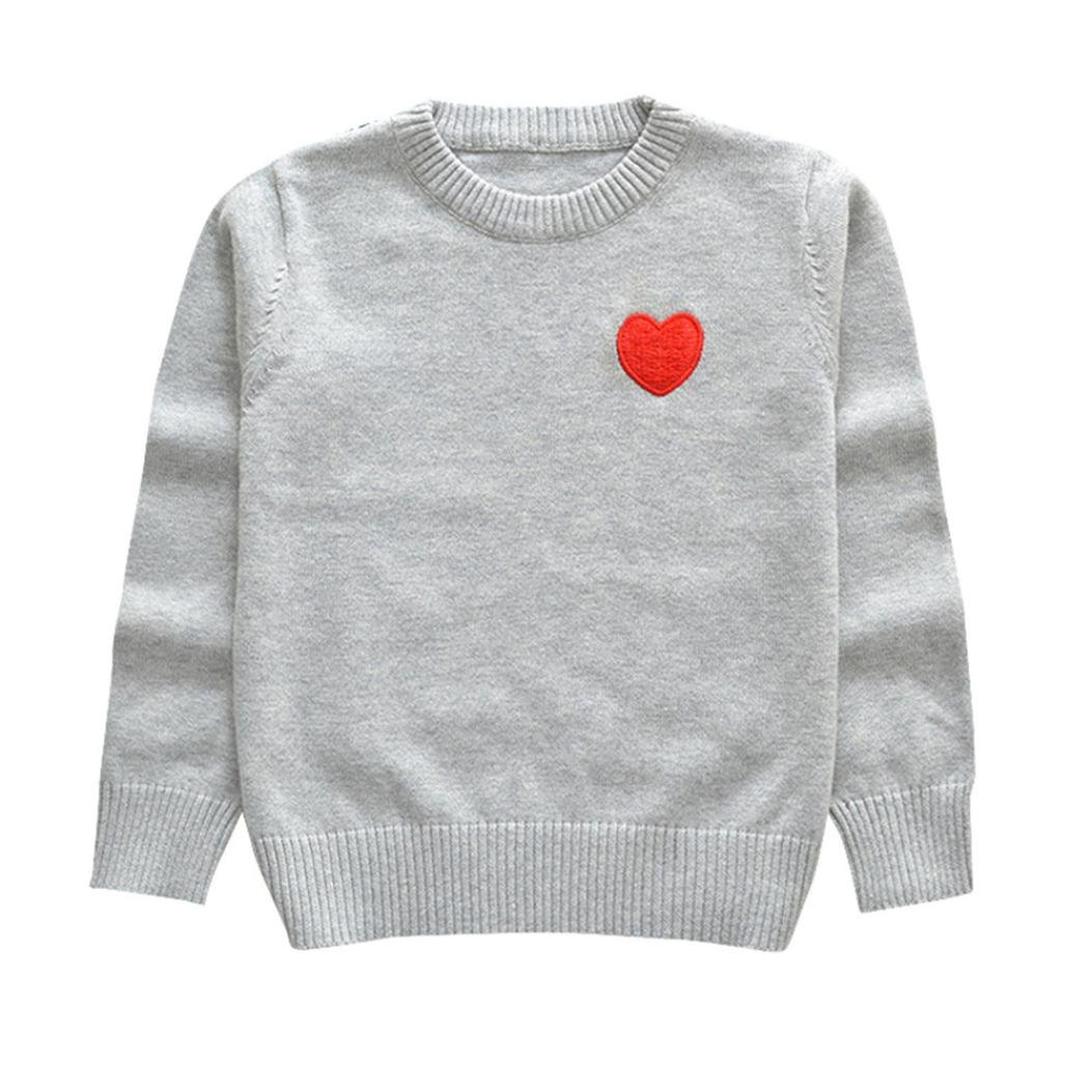 Palarn Toddler Sweaters, Unisex Baby Knitted Red Heart Print Sewing Tops, 12M-5T